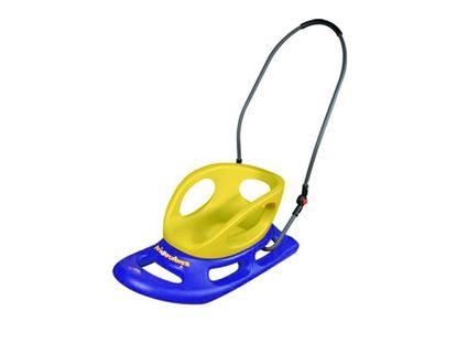 Изображение Санки Леко FL-1005-с со спинкой и рукоятью 84х45 см сине-желтые